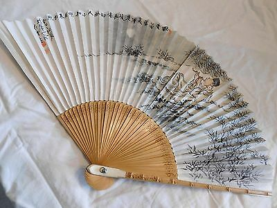 Antique CHINESE WATERCOLOR on FAN; 'Flute Player in Forest',Well Marked, Signed