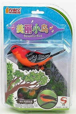 Ling Li Bao Animated Singing Bird Realistic Sound Toy Scarlet Tanager DEFECT