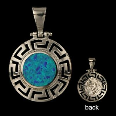 Ancient Greek Sterling Silver Pendant - Circle w/ Greek Key & Opal (26mm)