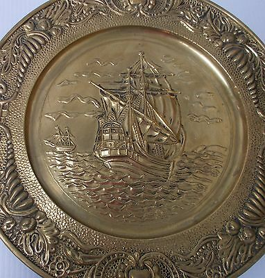 Vintage Brass Plate 14 inches Old Ship Motif Wall Decor Pilgrim