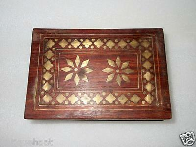 Antique Old Hand Crafted Brass Fitted Wooden Jewellery Money Vanity Shaving Box