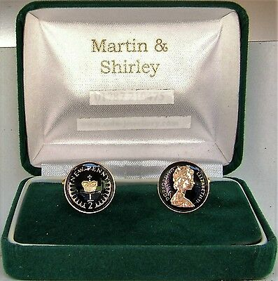 1979 Half Pence cufflinks from real coins in Black &Gold
