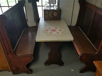 Vintage Diner Booth Wood Bench Formica Table Booth Set Soda Shop Set USA