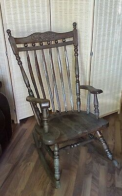 beautiful vintage solid wood rocking chair weathered quality antique furniture