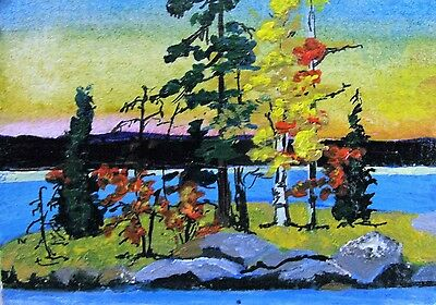 "A363  Original Acrylic Art Aceo Painting By Ljh  ""lake Of Woods"""