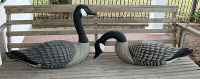 2 Large Decorative Geese Decoys Figurines Folk Art Yesterday's Decoys Pa USA