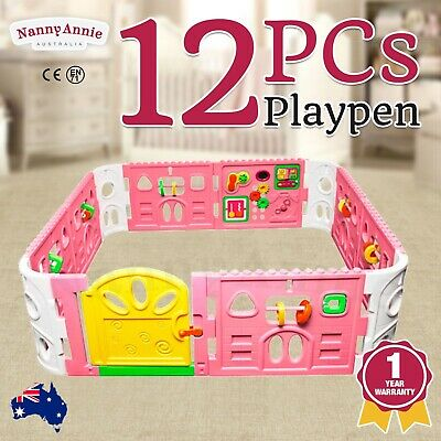 Baby Playpen with Gate and Activities 1.6m Square (Pink)