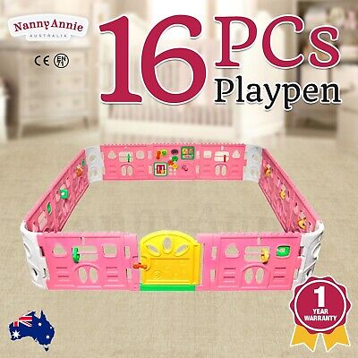 Baby Playpen With Door - Super Giant Interactive Play Room 2.3 x 2.3m (Pink)