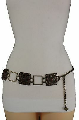 Women Fashion Belt Hip Waist Vintage Antique Gold Metal Charm Brown Beads S M L