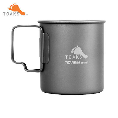 450ml TOAKS CUP-450 Titanium Cup Folding Handle Water Cup Mug Outdoor Tableware