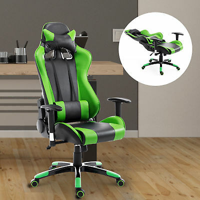 HOMCOM Green 360 Degree Swivel Office Chair Waist Adjustable Seat Neck Cushion