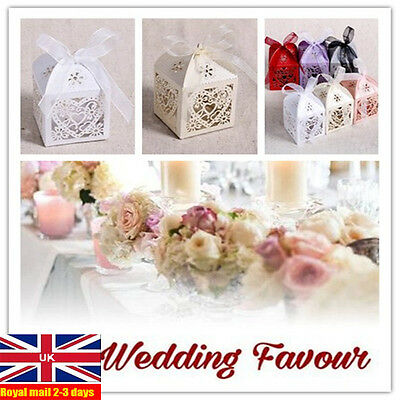 50Pcs Love Heart Laser Cut Candy Gift Boxes With Ribbon Wedding Party Favor UK