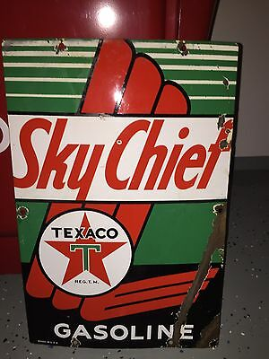 Original Vintage Texaco Sky Chief Porcelain Sign!