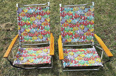 Pair Retro COPA Clownfish Layflat Sand Low Beach Folding Chair Vintage Camping