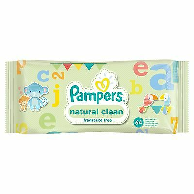 Baby Wipes 768 Pampers Natural Clean Pack Of 12 New Fast And Free Delivery