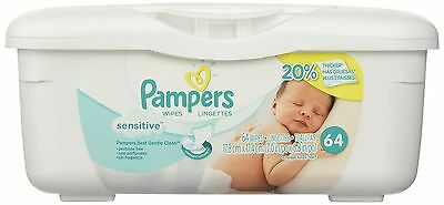 Pampers Baby Wipes Tub Sensitive With Touch of Milk Essentials 64 Wipes New