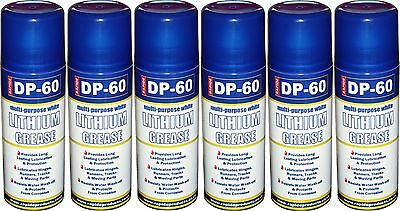 1- 6x DP-60 White Lithium Grease Maintenance Spray Can Synthetic Lubricant 200ml