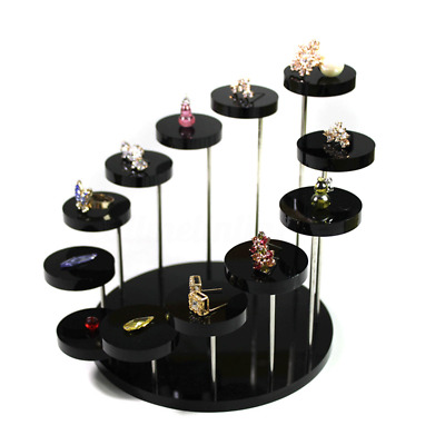 Acrylic Jewelry Round Table Stand Bracelet  Ring Earrings Display Holder Rack UK
