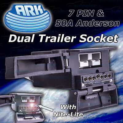 Ark Dual 7 Pin Trailer Socket & 50 Amp Anderson Connection With Led Light Combo