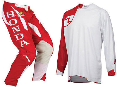 NO FEAR RETRO RED HONDA MOTOCROSS MX ROGUE PANT with ONE INDUSTRIES SOLID JERSEY