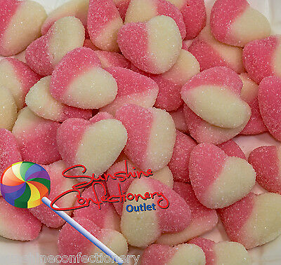 Sour Pink & White Hearts - 1kg-Gluten Free, Baby Shower Lollies Postage Included
