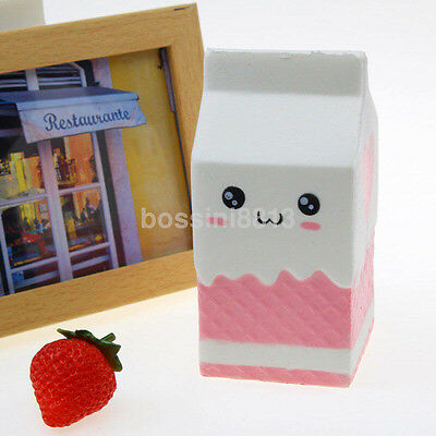 Squishy Milk Carton Phone Straps Slow Rising Soft Stress Reliever Toy New UK
