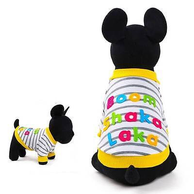 Puppy Pet Small Dog Puppy Cat Stripe Vest Summer Clothes T-shirt Apparel Costume