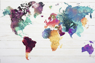 """MAP OF THE WORLD - WATERCOLOR Art Silk poster 12x18""""24x36""""24x43"""""""