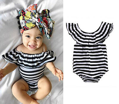 Stripe Newborn Infant Baby Girl Romper Jumpsuit Bodysuit Outfit Clothes US STOCK