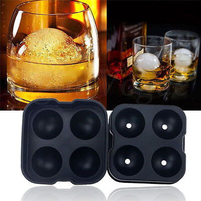 Whiskey Ice Ball Maker Mold Black Flexible Silicone Ice Tray Cube Round Spheres
