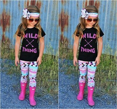 3pcs Set Toddler Kids Baby Girl Tops+Long Pants+Headband Outfit Clothes US Stock