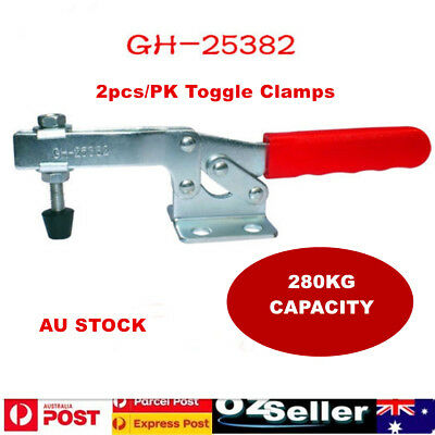 2pcs/PK 280Kg Toggle Clamps,Horizontal Bar w In-line Handle,Flanged Base-83958