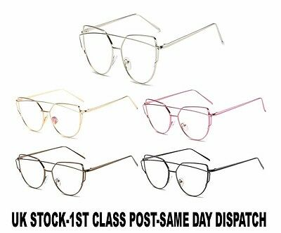 Quality Womens Fashion Oversized Metal Frame Clear Lens Cat eye Sunglasses