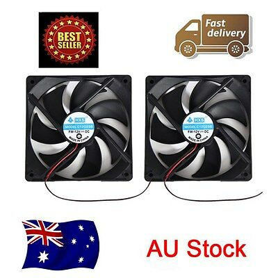 .2 x Black 12V Brushless PC Computer cooling Fan cooler 120mm x 120mm x 25mm AU