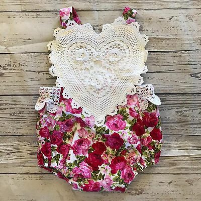 US Stock Newborn Infant Baby Girl Bodysuit Floral Romper Jumpsuit Outfit Clothes