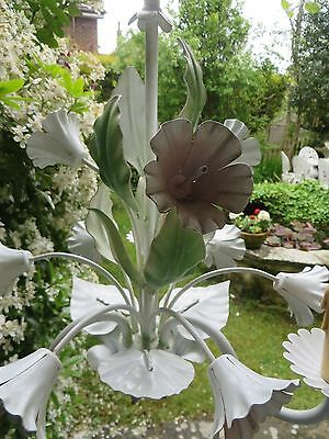 Very Pretty Vintage French Tole Ware Floral Chandelier  ~ Period / Country Home