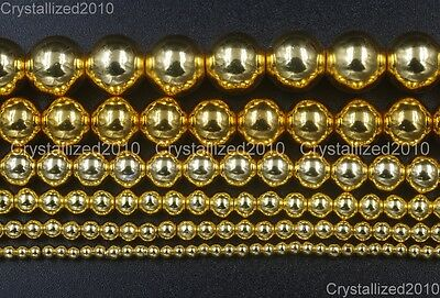 AAA Natural Gold Hematite Gemstones Round Loose Beads 2mm 4mm 6mm 8mm 10mm 16""