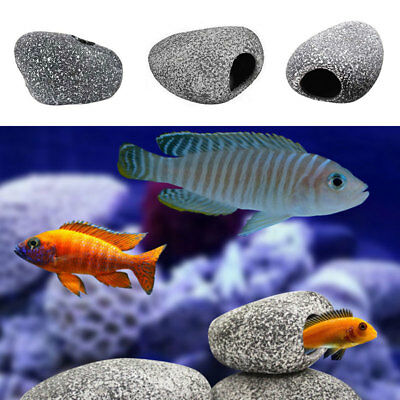 For Cichlid Stone Ceramic Rock Cave Aquarium Fish Tank Ornament Decoration UK