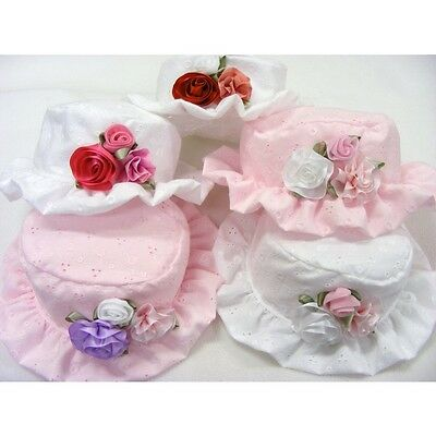 Beautiful Romany Baby Hat Trio Roses Design Broderie Anglaise Summer Bonnet