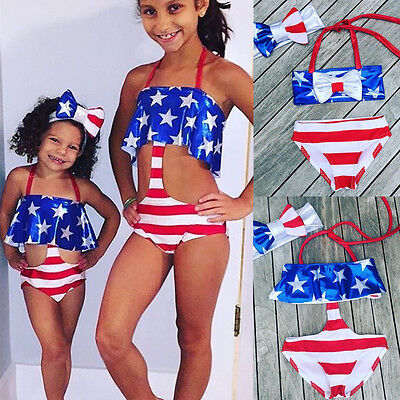 USA Kids Baby Girl Bikini Suit Stripe Bottom Swimsuit Swimwear Bathing Swimsuit
