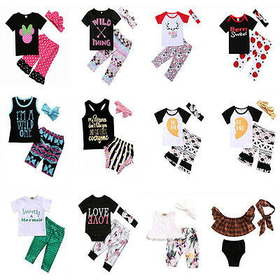 Toddler Kids Baby Girl T-shirt Tops Long Pants Headband Clothes Outfit US Stock