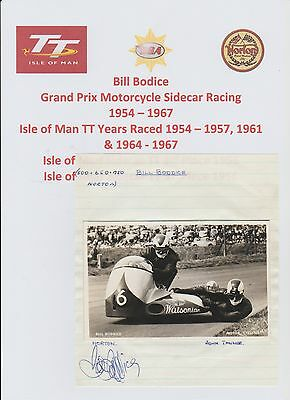 Bill Bodice Motorcycle Racer 1960-1972 Iomtt Rare Orig Hand Signed Cutting/card