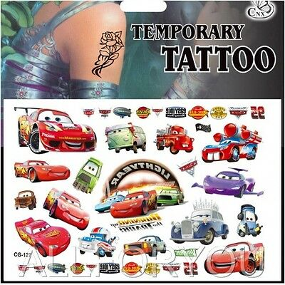 1x Cars Temporary Tattoo Sheet Children Kids Birthday Party Bag Filler