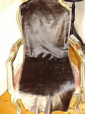 "antique french victorian millinery silk velvet - dark brown -  41"" x 17 1/2"""