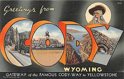 C41/ Cody Wyoming Wy Postcard Linen Large Letter Greetings Buffalo Bill