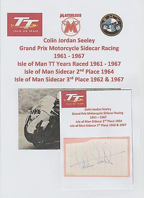 Colin Seeley Motorcycle Racer 1961-1967 Iomtt Original Signed Cutting/card