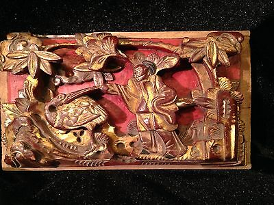 """01C Antique 1862-1875 Wooden Temple Carving with Certificate of Antiquity 8x4"""""""