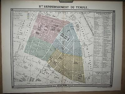 PARIS PLAN 3 eme ARRONDISSEMENT DU TEMPLE   DESBUISSONS ERHARD BARBA  19 EME