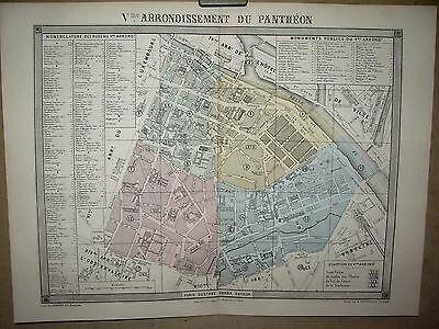 PARIS PLAN 5 e ARRONDISSEMENT DU PANTHEON  DESBUISSONS ERHARD BARBA  19 EME