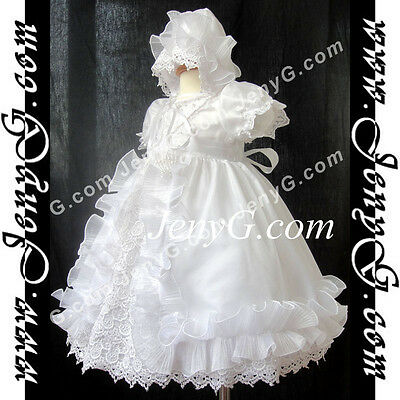 CW7 Baby Girl Christening Baptism First Holy Communion Church Bonnet Gown Dress